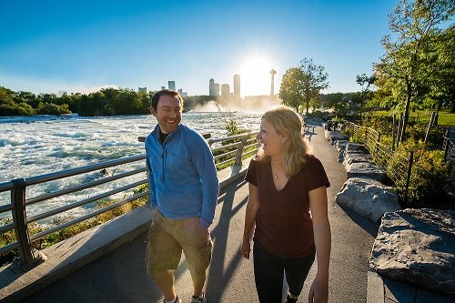 a young couple taking a walk in Niagara Falls state park