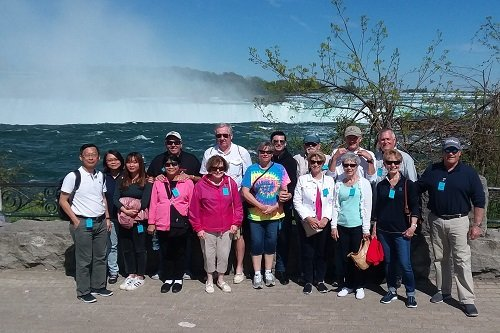 A group selfie at Table Rock Niagara Falls