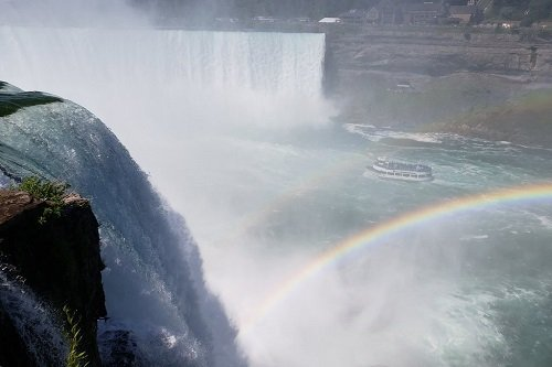 Double rainbow shining over the American side Falls
