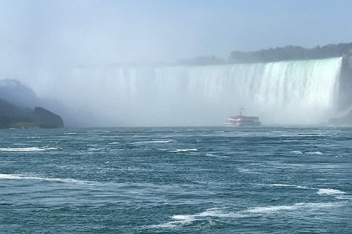 The Hornblower from Niagara Falls Canada riding into the Falls