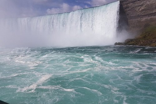 a view of the horseshoe falls from the Maid of the Mist
