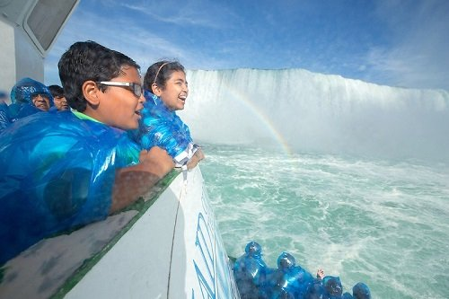 A family on The Maid of the Mist aboard one of our Niagara Falls Tours Canada