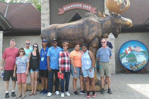 A group photo at souvenir city in Niagara Falls Canada